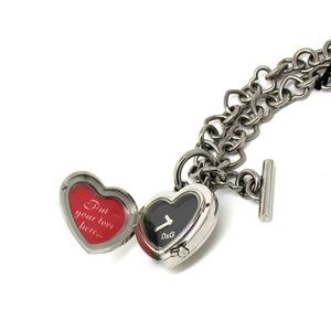 Dolce and Gabbana Silver Heart Necklace with Clock